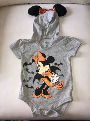 Minnie Mouse halloween onsie with minnie hoodie ears 6-9 for Sale in Rialto, CA