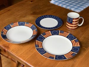 """4 piece place setting - Coventry Flag """"Liberty"""" Stoneware $25 for Sale in Davenport, IA"""