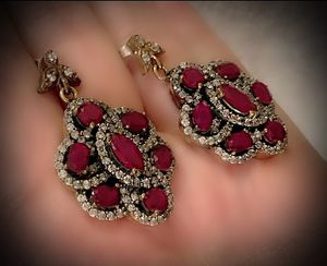 RUBY FINE ART DANGLE EARRINGS Solid 925 Sterling Silver/Gold WOW! Brilliantly Faceted Marquise/Round/Oval Cut Rubies, Diamond Topaz M9474 V for Sale in San Diego, CA