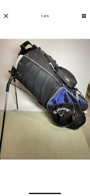 Callaway 8 Way Blue & Black Golf Cart Bag w/ Stand & Backpack Strap- Used for Sale in New Rochelle, NY