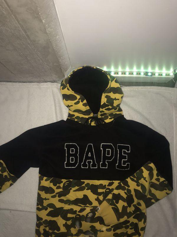 1st BAPE Camo Hoodie - YELLOW - Mens