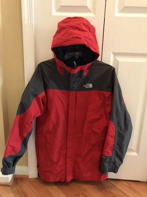 THE NORTH FACE HyVent Red & Grey Hooded Jacket Men's Size XL .. feel like Large . for Sale in Purcellville, VA