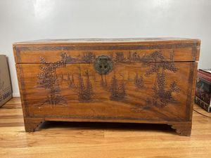 Vintage Chinese Chest Antique Oriental Brown Carving Trunk Table (Or Offer Me) for Sale in Alhambra, CA