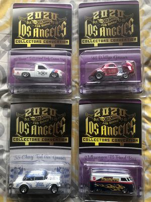 NEW HOT WHEELS 2020 LA CONVENTION 4 CAR SET INCLUDES SERIES NISSAN HARDBODY & 41 WILLYS CARS, ONE DINNER 55 CHEVY GASSER CAR AND ONE VW T1 PAN for Sale in Pomona, CA
