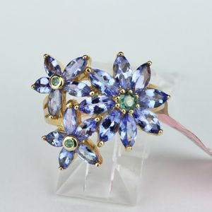 14k Gold Ring with Tanzanite flower marquee shaped and Alexandrite round 3.25ctw Size 7 w 5.45 for Sale in Avondale, AZ