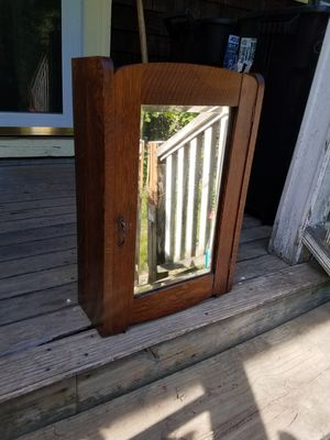 Antique oak cabinet with original key beveled mirror for Sale in Hanson, MA