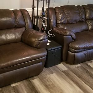 Brown Leather Recliners And Couch for Sale in Atlanta, GA