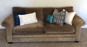 Pottery Barn Cotton Velvet Sofa with Two Armchairs and Ottoman for Sale in Phoenix, AZ