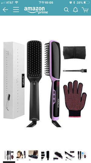 3 in 1 Ionic Hair Straightener Brush Ceramic Faster Heating Hair Straightening Irons Worldwide Voltage with Free Heat Resistant Glove Storage Bag and for Sale in High Point, NC