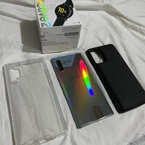 Samsung Galaxy Note10+ 5G 256GB Unlocked + Active 2 Watch + 6000 mAh battery case for Sale in Malden, MA