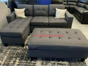 "Grey sectional sofa with ottoman convertible sleeper couch 81x60 "" for Sale in Cypress, CA"