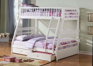 Twin/Full Bunk Bed AND Drawers - 37040 - White LTUQH for Sale in Pomona, CA
