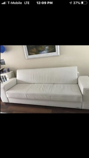 white leather couch with storage, futon sofa with storage for Sale in Schaumburg, IL
