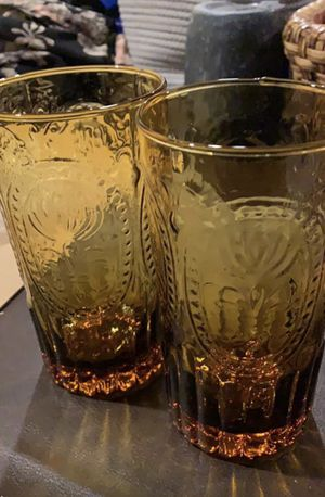 2 Tall Brown Glasses Anthropologie for Sale in Olney, MD