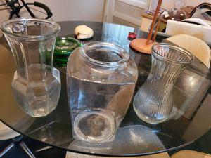 3 full size Glass vases for long stem roses flower vases for Sale in Bensalem, PA