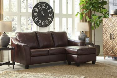 Fortney Mahogany Leather Sofa Chaise for Sale in Round Rock,  TX