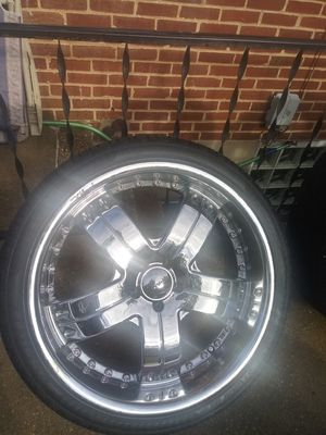 22 Inch chrome rims and tires for Sale in Baltimore, MD