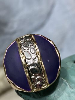 18k GPL Two Tone Men's Ring With Enamel Finish Size 6,7,8 for Sale in Nashville,  TN