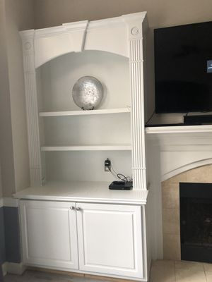 "Two custom built shelves with cupboards space in great condition both for $200.00 4'6"" wide x 8'11"" tall , Cabinet depth 25 inches . for Sale in Raleigh, NC"
