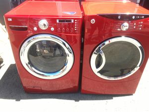 Washer and electric dryer red color set for Sale in San Leandro, CA