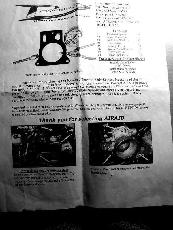 PowerAid Throttle Body Spacer # 200-612-P