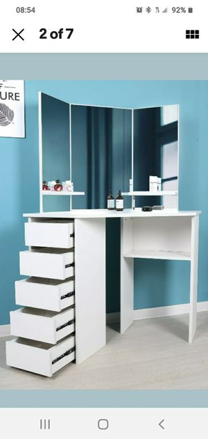 Makeup make up vanity table with mirror Luxury Contemporary design furniture made in Europe Reversible not China like others listing here for Sale in Oakland Park, FL
