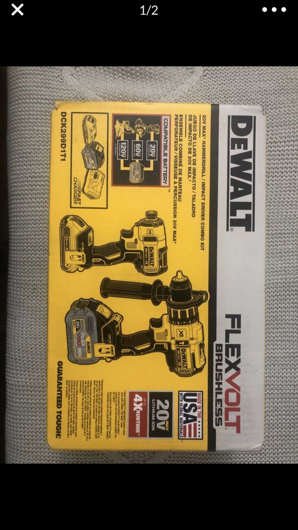 DeWalt 20-Volt MAX Lithium-Ion Cordless Brushless Combo Kit (2-Tool) with FLEXVOLT and 20-Volt Battery and Charger