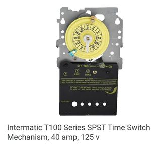 Intermatic T100 Series SPST Time Switch Mechanism, 40 amp, 125 v (92) for Sale in Dallas, TX