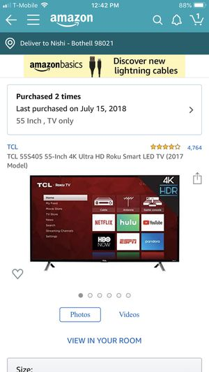 """Tcl smart Roku 55"""" tv-barely used for Sale in Bothell, WA"""