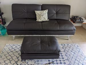 Leather futon with matching ottoman chocolate brown for Sale in Scottsdale, AZ