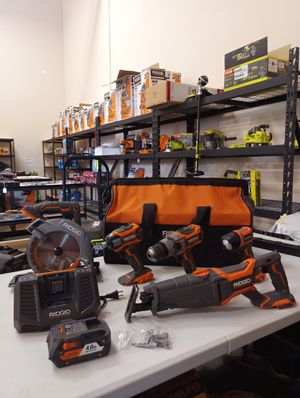 """USED IN GREAT CONDITION WORKING PERFECT! RIDGID 18 VT GEN 5X 5 PIECE SET WITH """"ONE"""" BATTERY AND CHARGER AND BAG for Sale in San Bernardino, CA"""