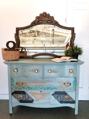 Antique Coastal Shabby Chic Distressed Drawers Chest/Dresser/Vanity on Casters with Vintage Mirror for Sale in West Covina, CA