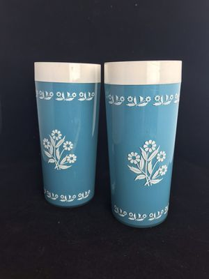 Pair of Vintage Plastic Insulated Tumbler Cups Cornflowers Corningware for Sale in Burien, WA