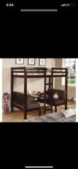 Coaster wood bunkbed s/ table and benches for Sale in Oak Glen, CA