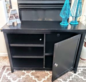 """Black Stressed Wooden Media Stand 5-Shelf 45"""" x 18"""" x 30"""" H for Sale in Arvada, CO"""