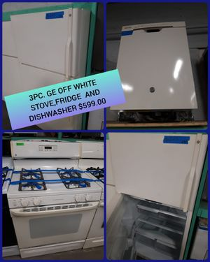 3pc. GE off white stove, fridge and dishwasher in excellent condition $599.00 for Sale in Baltimore, MD