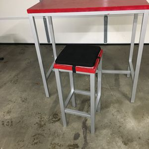 Red/Metal Tall Desk and Matching High Stool for Sale in Seattle, WA