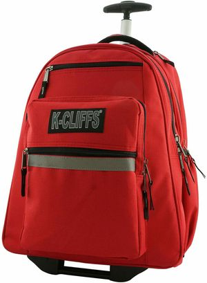 Heavy Duty Rolling Student School Bag with Wheels Deluxe Trolley Bookbag Wheeled Daypack Multiple Pockets with Safety Reflective Stripe Red for Sale in Pico Rivera, CA