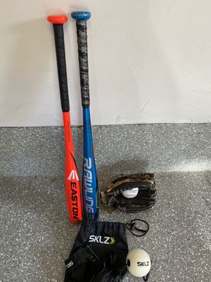 "Kids Baseball Glove (Mizuno), 2 kids bats (29"" Easton and 29"" Rawlings) and Skillz Hitting Trainer for Sale in Encinitas, CA"