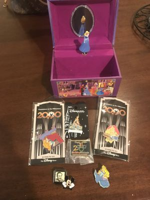 Sleeping Beauty Jewelry Box with Disney Pins for Sale in Maitland, FL