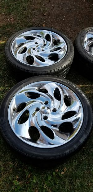 4 17in 4x108 wheels rims tires chrome for Sale in Rockville, MD