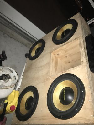 Custom built subwoofer box for 4 12s sub are not included trades are welcome lmk what you have! for Sale in Port St. Lucie, FL