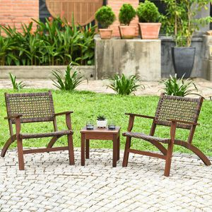 3PCS Outdoor Wooden Patio Rattan Furniture Set for Sale in Orlando, FL