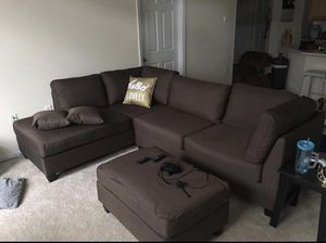 Brand new brown linen sectional sofa with ottoman for Sale in Silver Spring, MD
