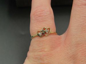 Size 6 10K Gold Double Heart Genuine Diamond Band Ring Vintage Estate Wedding Engagement Anniversary Gift Idea Beautiful Elegant Unique Cute for Sale in Lynnwood, WA