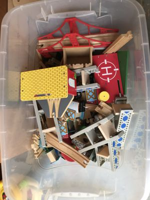 Bin of wooden trains,tracks and accessories for Sale in CT, US