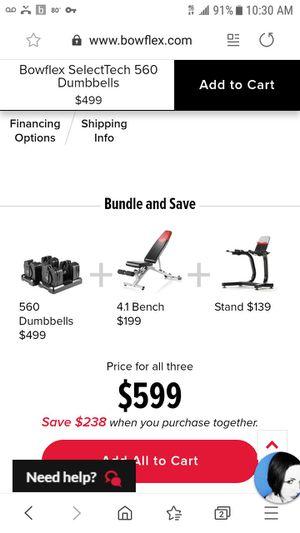 Bowflex Selectech 560 for Sale in PORT WENTWRTH, GA