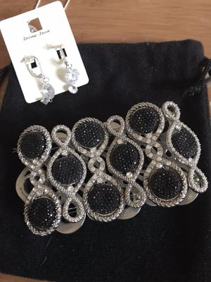 Beautiful Diamond Bracelet & Dangling Crystal Earrings Set for Sale in Methuen, MA