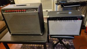 2 AMPS FENDER PRINCETON CHORUS VINTAGE 90S RED GUITAR AMP USA MADE 50 WATTS & ROCKSTROM RAMPAGE R50 GUITAR AMP 50 WATTS for Sale in Chicago, IL