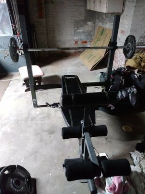 Weight set with bench and bar for Sale in Holyoke, MA